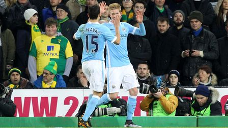 Kevin de Bruyne was on target in Manchester City's 3-0 win at Carrow Road in the FA Cup third round