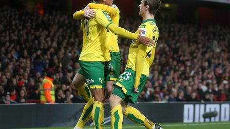 Remember the good times? Josh Murphy celebrates scoring against Arsenal at the Emirates. Picture: Pa