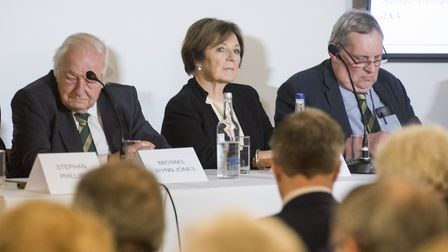 From left, Norwich City board members Stephan Phillips, Michael Wynn Jones and Delia Smith at Carrow