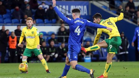 Nelson Oliveira has a shot on goal during the defeat at Cardiff. Picture: Paul Chesterton/Focus Imag