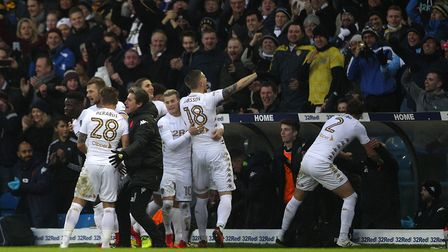 Pontus Jansson celebrates scoring what proved to be the winning goal for Leeds against the Canaries.