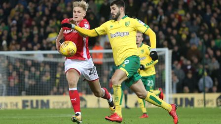 Nelson Oliveira was the match winner the last time Norwich won at home against Birmingham. Picture: