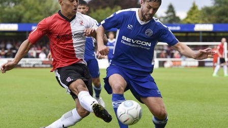 Norwich City full-back Louis Ramsay, left, in action for loan club Woking earlier this season. Pictu