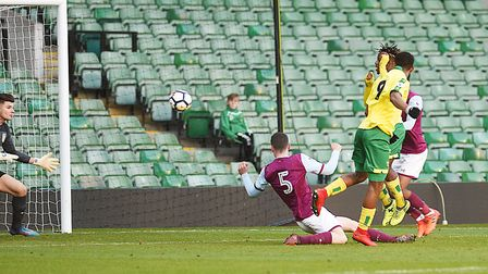 Tristan Abrahams scored Norwich City's only goal of the game against Aston Villa U23s. Picture: Ian