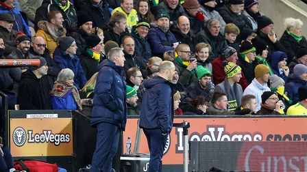 Members of the Geoffrey Watling City Stand clearly enjoyed seeing Alex Neil back at Carrow Road, as