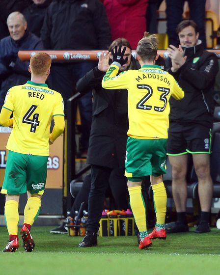 James Maddison celebrates scoring at the weekend - the midfielder is hot property. Picture: Paul Che