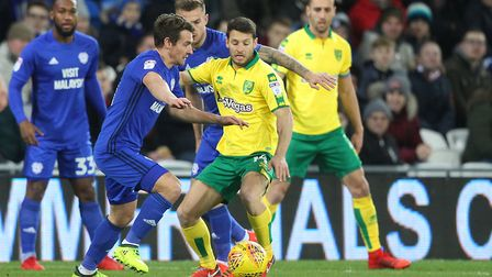 Wes Hoolahan was heavily involved in the first half at Cardiff. Picture: Paul Chesterton/Focus Image
