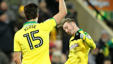 Timm Klose celebrates putting City 2-1 up against Sheffield Wednesday with James Maddison. Picture: