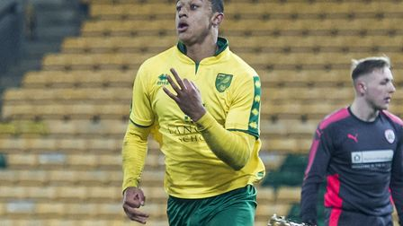 Adam Idah of Norwich City U18 scores and celebrates his third goal during the FA Youth Cup match at
