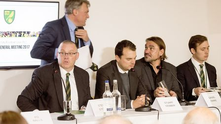 Ed Balls prepares to address the supporters and shareholders at the 2017 Norwich City annual general