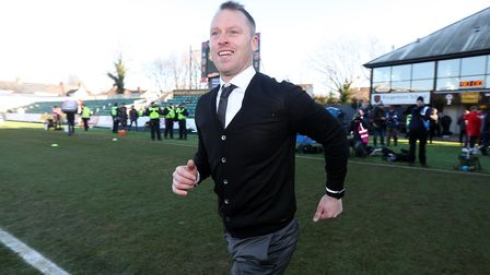 Newport County manager Michael Flynn celebrates victory over Leeds. Picture: PA