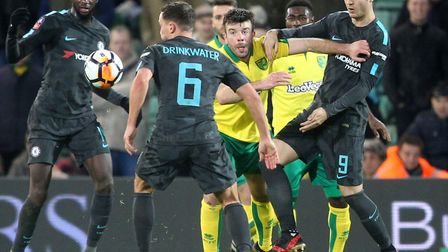Grant Hanley in the thick of the action in the match at Carrow Road. Picture: Paul Chesterton/Focus