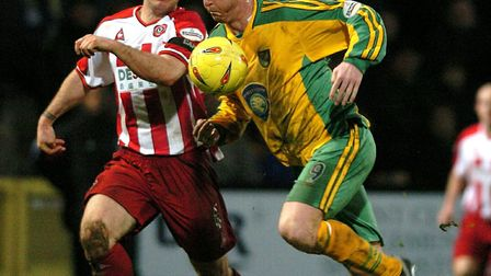Iwan Roberts in action against Sheffield United in a vital match in January, 2004. Picture: James Ba