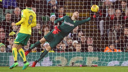 Angus Gunn at full stretch - how he'd enjoy another run of clean sheets. Picture: Paul Chesterton/Fo