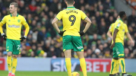 Nelson Oliveira cuts a dejected figure as Norwich City slip behind early to Sheffield United. Pictur