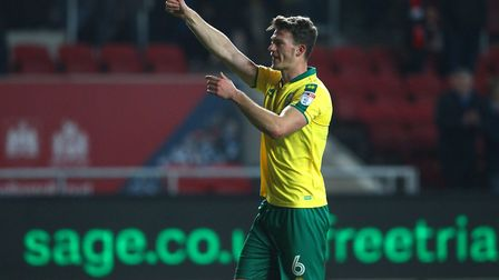 Christoph Zimmermann of Norwich acknowledges the away support at the end of the Sky Bet Championship