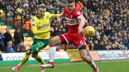 James Maddison challenges Middlesbrough's Ben Gibson during City's 1-0 win on Saturday. Picture: Pau