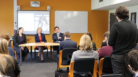 MP Elizabeth Truss talks to sixth form students during a visit to Thetford Academy. Picture: Thetfor