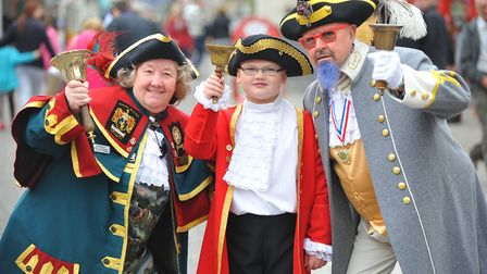 Newmarket town crier Brenda Willison, Thetford young crier Harry Turburville and Devlin Hobson from