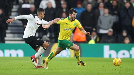 Nelson Oliveira takes on Derby defender Curtis Davies during Saturday's 1-1 draw. Picture: Paul Ches