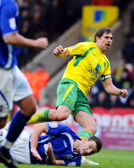 Grant Holt watches as he completes his hat-trick against Ipswich Town in 2010. Picture: Archant