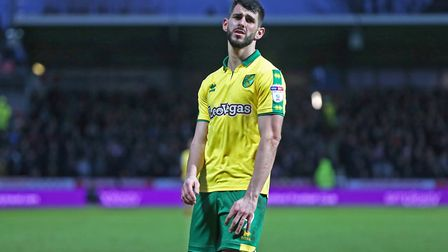Nelson Oliveira of Norwich cuts a frustrated figure during the Sky Bet Championship match at Griffin