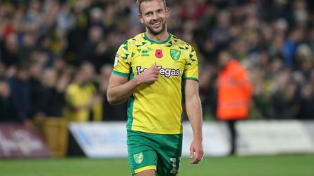 Jordan Rhodes of Norwich at the end of the Sky Bet Championship match at Carrow Road, NorwichPicture