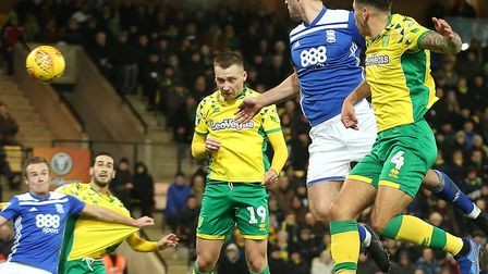 Tom Trybull powered home a first half header for Norwich City against Birmingham City Picture: Paul