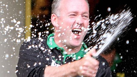 Paul Lambert enjoyed that champagne feeling of promotion success at Norwich City Picture: Chris Radb