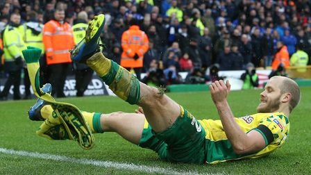 Teemu Pukki celebrates making it 3-0 to Norwich City over Ipswich Town at Carrow Road. Picture: Paul