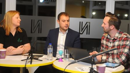 Pink Un Show host Michael Bailey, right, speaks to Norwich City's chief operating officer Ben Kensel