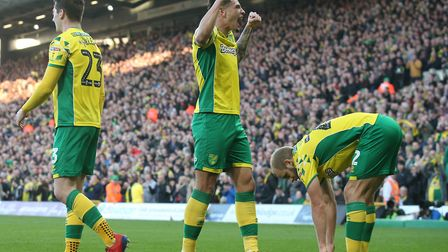 Ben Godfrey (centre) was also among the goals as he notched Norwich City's second equaliser against