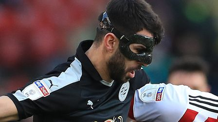 Norwich City striker Nelson Oliveira is wearing a protective mask at the moment due to facial injuri
