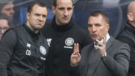 John Kennedy, centre, has been on the coaching staff of Brendand Rodgers, right, in recent seasons a