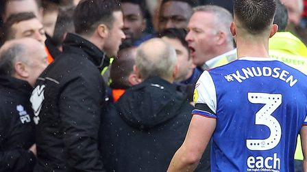 Tempers flared between Norwich City goalkeeper coach Ed Wootten and Ipswich Town manager Paul Lamber