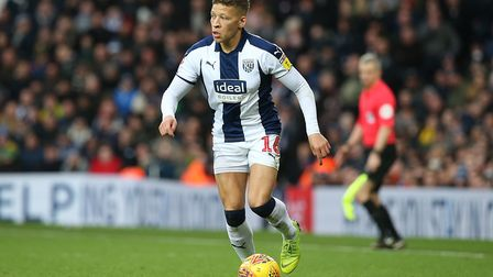 Dwight Gayle of West Bromwich Albion in action during the Sky Bet Championship match at The Hawthorn
