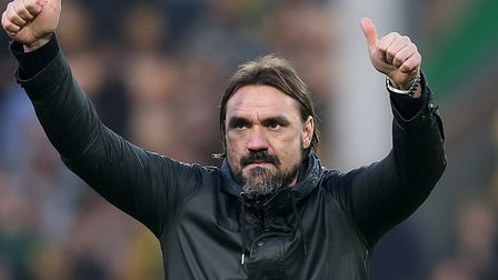 Daniel Farke savoured the celebrations at the final whistle against Bristol City Picture: Paul Chest