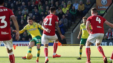Kenny McLean scores his first Norwich City goal against Bristol City at Carrow Road. Picture: Paul C