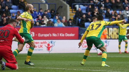 Emiliano Buendia of Norwich celebrates scoring his sides 3rd goal during the Sky Bet Championship ma