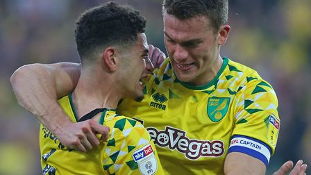 Ben Godfrey and Christoph Zimmermann celebrate a big win for Norwich City Picture: Paul Chesterton/F