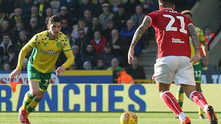 Kenny McLean rifles Norwich Ciy level in the first half of the 3-2 win over Bristol City Picture: Pa