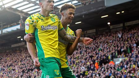 Ben Godfrey celebrates scoring Norwich City's second equaliser against Bristol City with Jamal Lewis
