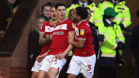 Callum O'Dowda celebrates scoring Bristol City's second goal - just 17 seconds after Norwich City's