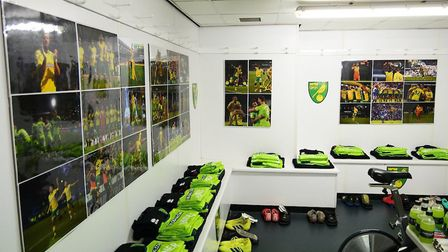 The away dressing room at The Den, as Norwich City prepared to take on Millwall. Picture: Twitter/@N