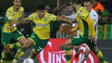 Onel Hernandez leads the charge in Norwich City's 1-0 win over Swansea City Picture: Paul Chesterton