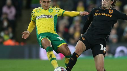 Max Aarons was in the thick of the action during Norwich's City's 3-2 home win over Hull Picture: Pa