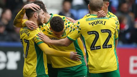 Emi Buendia is mobbed after his goal at Bolton Picture: Paul Chesterton/Focus Images Ltd