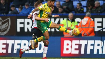No letting up - Onel Hernandez up against Craig Noone during the 4-0 win at Bolton Wanderers Picture