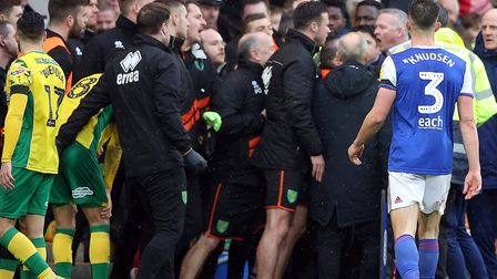 Ipswich Town and Norwich City were charged by the FA for their part in a derby brawl Picture: Paul C