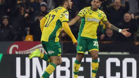 Emi Buendia runs to the Barclay to celebrates his superb strike against Swansea, which proved to be